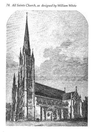 All Saints Notting Hill - Engraving of William White's design for All Saints, complete with spire