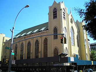 Tompkins Square Park riot (1988) - St. Brigid's Church on Avenue B overlooks Tompkins Square Park. It served as a place for protesters to organize and receive medical attention during the riot.