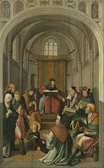 Panel of an altarpiece with Jesus disputing with the doctors in the Temple (inner wing) and Christ appearing to his mother (outer wing)