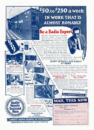 National Radio Institute - 1926 magazine advertisement for the National Radio Institute