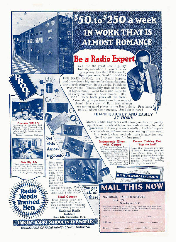 """Be a Radio Expert"" advertisement for the National Radio Institute. ""$50.to $250 a week IN WORK THAT IS ALMOST ROMANCE""; ""Be a Radio Expert""; ""Learn Quickly and Easily at Home""."