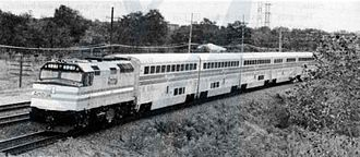 Superliner (railcar) - An Amtrak publicity train with Superliners at Lisle, Illinois, on October 11, 1979