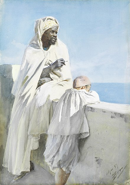 Anders Zorn, Man and boy in Algiers, 1887 Anders Zorn An Algerian man and boy looking across Bay of Algiers.jpg