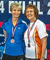 Ankara - BWF World Senior Badminton Championships - WS 70 Medal winners- - Anna-Wiola Renholm (FIN) & Marg Hudson (CAN) receive their bronze medals (11078209754).jpg
