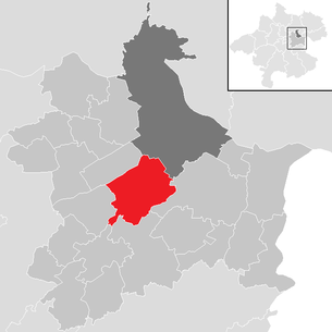 Location of the municipality of Ansfelden in the Linz-Land district (clickable map)