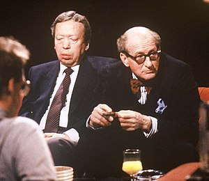 Anthony Howard (journalist) - Appearing (left) with Lord Lambton on television programme After Dark in 1991