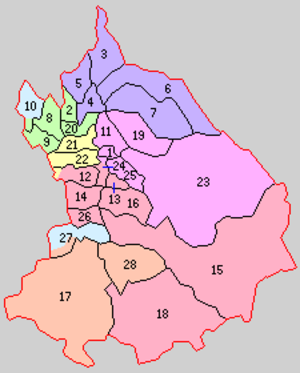Minamitsugaru District, Aomori - Historic Map of Minamitsugaru District: 1.Kuroishi 2.Tomikidate 3. Ōsugi 4.Megasawa 5.Nozawa 6.Namioka 7.Gogō 8.Junisato 9.Fujisaki 10.Hataoka 11.Nakagō 12.Saruga 13.Kanata 14.Daikōji 15.Takedate 16.Ōsaki 17.Ōwani 18.Ikarigaseki 19.Rokugō 20.Tokiwa 21.Kōdenji 22.Inakadate 23.Yamasugi 24.Onoe 25.Aseishi 26.Kashiwagi 27.Ishikawa 28.Kuradate Purple=to Aomori City, Pink=Kuroishi, Red=Hirakawa, Yellow=Inakadate, Green=Fujisaki, Orange= Ōwani, Light Blue (upper)=to Kitatsugaru District, Light Blue (lower)=to Hirosaki City