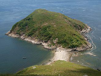 Ap Lei Pai - Ap Lei Pai Island as seen from Ap Lei Chau Island. A tombolo connects the two islands.