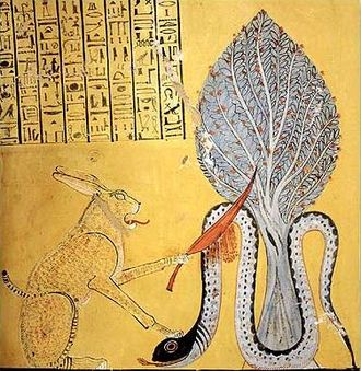 Apep - The sun god Ra, in the form of Great Cat, slays the snake Apep