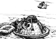 Parachutes are deployed, slowing the CM for a splashdown in the Pacific Ocean. The astronauts are recovered and brought to an aircraft carrier.