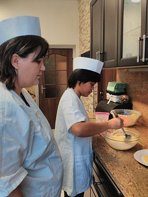 Apprenticeship - Cook with her apprentice. Euroinstitut vocatinal school, Czech Republic.