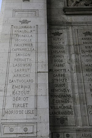 Jean-Toussaint Arrighi de Casanova - Arrighi's name is inscribed on the Arc de Triomphe (7th from bottom on the left).