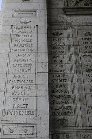 Maxime Julien Émeriau de Beauverger - Emeriau's name engrave on the Arc de Triomphe (fifth from bottom).