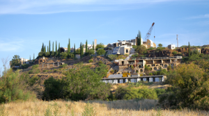 Arcosanti - View of Arcosanti from the southeast, showing buildings from Crafts III on the far left to the guestrooms in the right foreground.