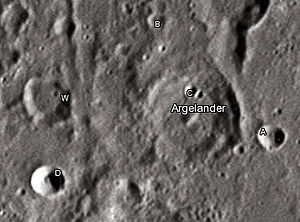 "Argelander (crater) - Argelander crater and its satellite craters taken from Earth in 2012 at the University of Hertfordshire's Bayfordbury Observatory with the telescopes Meade LX200 14"" and Lumenera Skynyx 2-1"