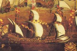 La flotte française se fait écraser par la flotte espagnole le 26 juillet 1582 aux Açores