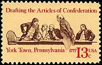 Historische 13-Cent-Briefmarke zum 200-jährigen Jubiläum der Artikel der Konföderation
