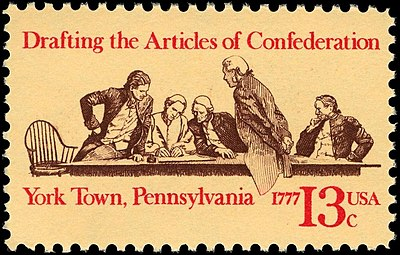 1977 13-cent U.S. Postage stamp commemorating the Articles of Confederation bicentennial; the draft was completed on November 15, 1777 Articles of Confederation 13c 1977 issue.JPG