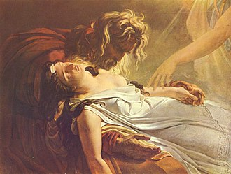 "Fionn mac Cumhaill - ""Malvine, Dying in the Arms of Fingal"", by Ary Scheffer. The characters are from James Macpherson's epic poem Ossian: ""Fingal"" is a character based upon Fionn mac Cumhaill, while ""Malvina"" is the lover of Fingal's grandson Oscar, and cares for Fingal in his old age after Oscar dies."
