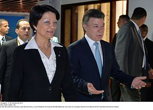 Mireille Ballestrazzi - Mireille Ballestrazzi and Juan Manuel Santos at the 82nd assembly of Interpol in Cartagena, Colombia