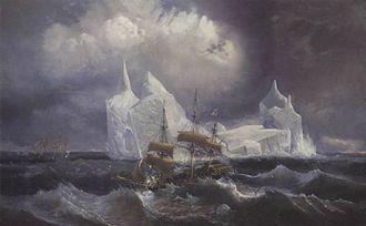 Louis Le Breton - French ships Astrolabe and Zélée, by Le Breton