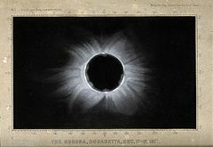 Astronomy; the corona of the sun, viewed during a total sola Wellcome V0024739.jpg