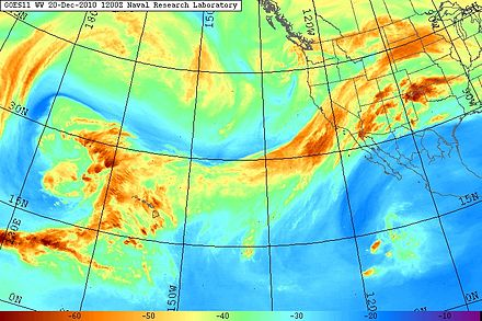 Water vapor imagery of the eastern Pacific Ocean from the GOES 11 satellite, showing a large atmospheric river aimed across California in December 2010. This particularly intense storm system produced as much as 26 in (66 cm) of precipitation in California and up to 17 ft (520 cm) of snowfall in the Sierra Nevada during December 17-22, 2010. Atmospheric River GOES WV 20101220.1200.goes11.vapor.x.pacus.x.jpg