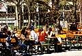 Auch wenn's noch keine Blätter hat- A bissl was geht immer. - Das erste frischgezapfte Bier im Biergarten - München, Westpark, Hopfengarten (8651231745).jpg