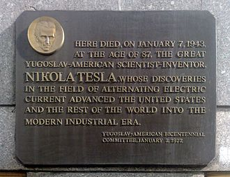 Wyndham New Yorker Hotel - Plaque honoring Nikola Tesla, who lived in the hotel for ten years until he died