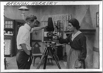 Herbert Brenon - Herbert Brenon and Alla Nazimova with a camera in his studio, August 9, 1916.