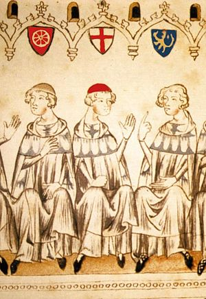 Rudolf I, Duke of Bavaria - The Prince-electors voting for Henry VII: Rudolf on the right, identified by the Palatinate Lion;  excerpt from the Chronicle of Henry VII (Balduineum), 1341