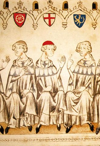 Peter of Aspelt - Prince-elector of Mainz Peter of Aspelt (left) in Frankfurt in November 1308.