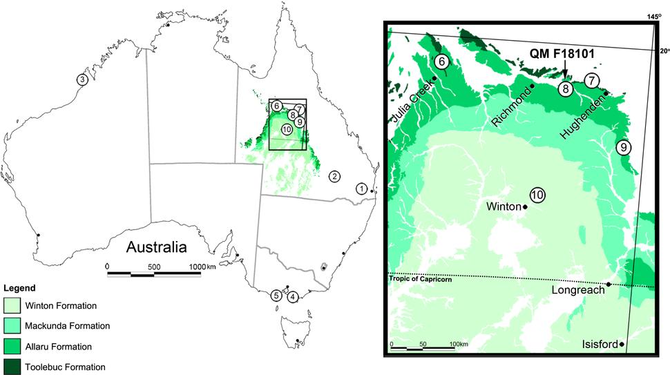 Australian thyreophoran localities