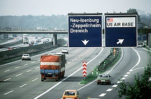 Bundesautobahn 5 -  Motorway exit from the A5 to the US Rhein-Main Air Base in 1988