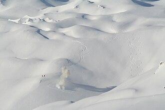 Avalanche control - Avalanche blasting in the French ski resort of Tignes (3,600 m)