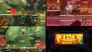 Awesomenauts - Split-screen mode for three local players, including the common megamap (bottom right) for all three.