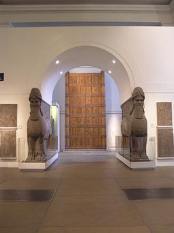 Room 6 - Pair of Human Headed Winged Lions and reliefs from Nimrud with the Balawat Gates, c. 860 BC BM; RM6 - ANE, Assyrian Sculpture 14 West Wall (M + N) ~ Assyrian Empire + Lamassu, Gates at Balawat, Relief Panel's & Full Projection.3.jpg