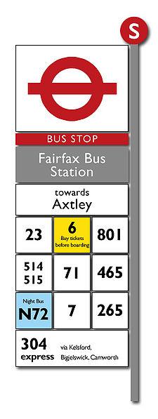 Табличка с номерами маршрутов:
