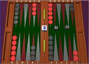 Screenshot from the program GNU Backgammon (Fr...