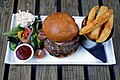Bacon beefburger and chips at Black Horse Inn Nuthurst West Sussex England.jpg