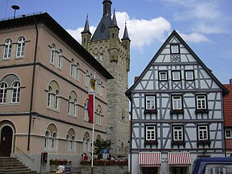 Bad Wimpfen - Blauer Turm (Blue Tower) and town hall on the left