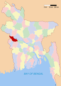 Location of Kushtia in Bangladesh