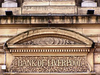 Bank of Liverpool - Sign above the door way of old HQ