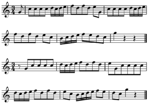 Musical phrasing - Image: Bar line shift on metric accent