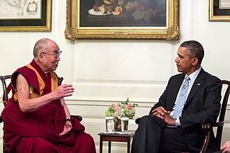 Tibetan Buddhism - The 14th Dalai Lama meeting with U.S. President Barack Obama in 2014. Due to his widespread popularity, the Dalai Lama has become the modern international face of Tibetan Buddhism.