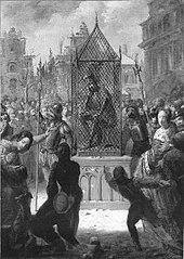 Anno 1512. Wassenaer wordt in een ijzeren kooi tentoongesteld