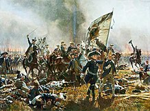 Frederick leading his troops at the Battle of Zorndorf, by Carl Röchling (Source: Wikimedia)