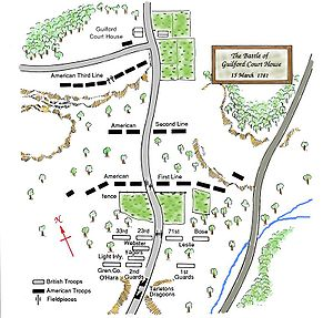 Battle of Guilford Court House - Map of the Guilford Court House Battleground, based on c. 2006 National Park Service map