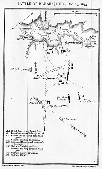Gwalior Campaign - Map of the Battle of Maharajpore, 29 December 1843