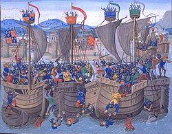 Bataille de l'Ecluse à Sluys - Miniature tirée des Chroniques de Jean Froissart.